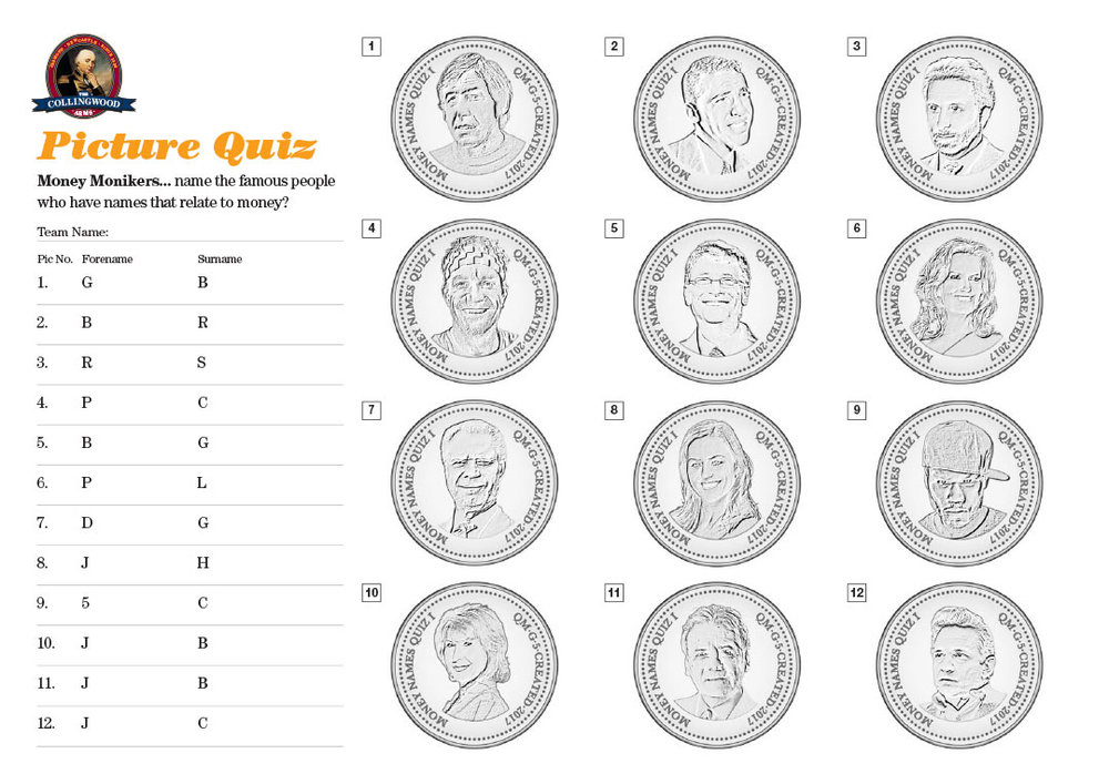 "The clue on the Preview this week was ""With monikers like these you would expect them to have some dosh"" Get the unbranded hi res version of this Picture Quiz from TheQuizMaker"