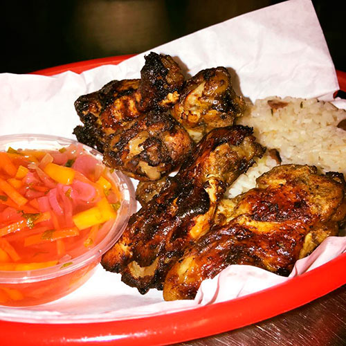 Get here early and try our new light Bites. Jerk Wings, Caribbean Fish Fritters and Sweet Corn Pankcakes. £4.45 each, 2 for £7.95 or 3 for £11.45.