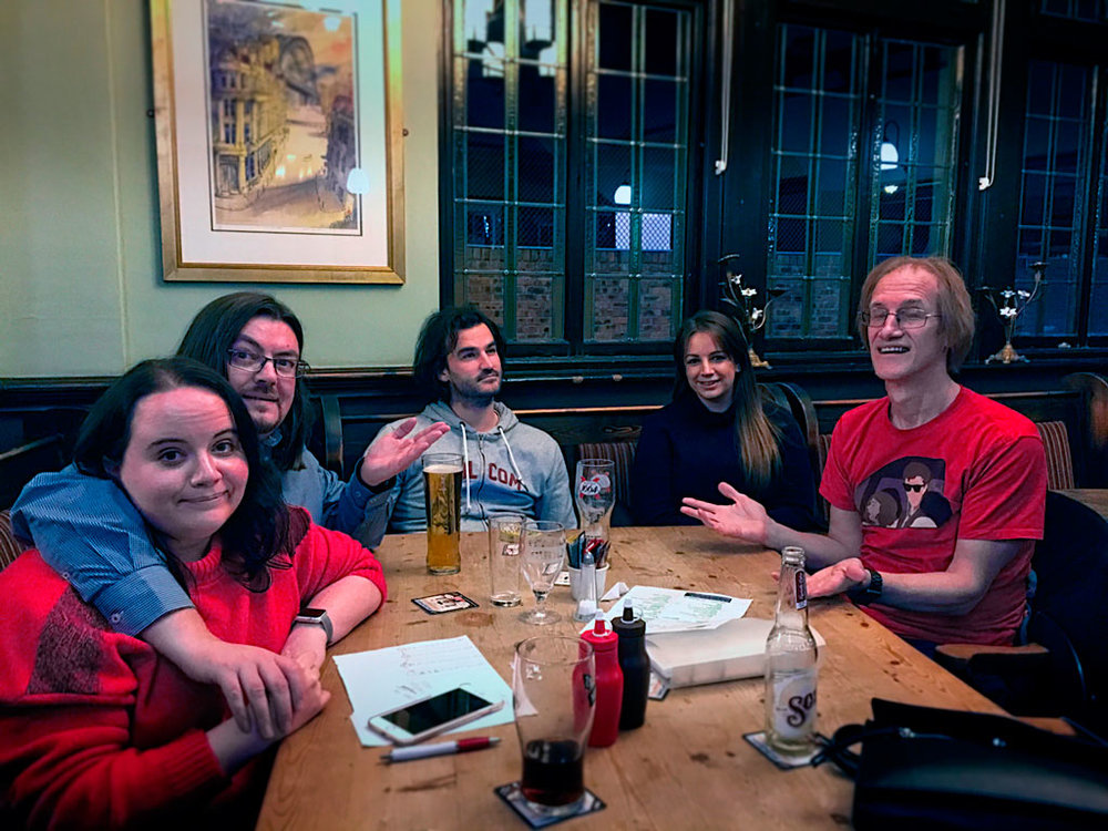 Our Winners Spontaneous Wrecks looking suitably perturbed after drawing the Food Vouchers yet again.