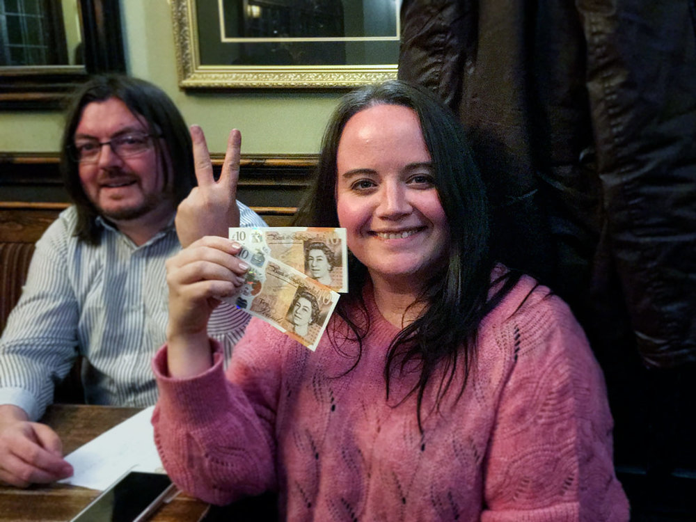 Shit Sports Round but Welcome Wild Car Win... Louise from Spontaneous Wrecks was the closest to the Wild Card answer so pocketed a nice crisp pair of tenners. Nice of Jon to emphasise it was two ten pound notes.