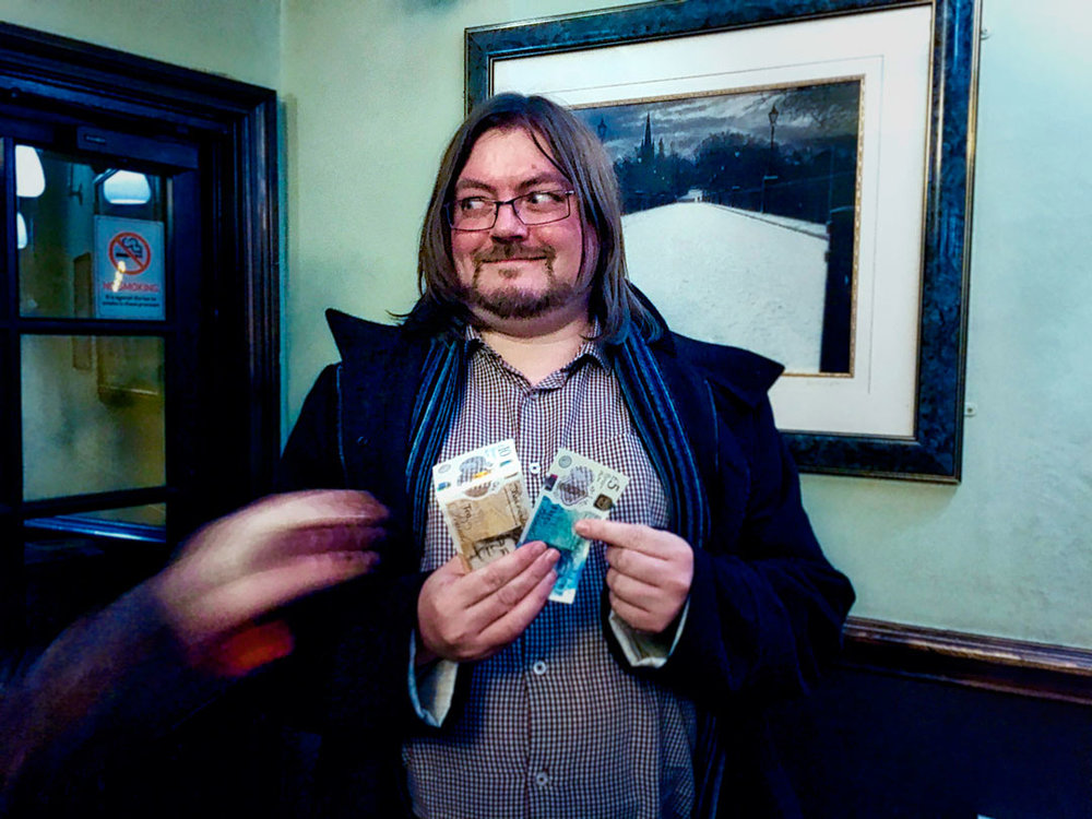 Jon may not have drawn the £255 Cash Prize but he did win the £16 Wild Card to finish the night with some notes in his pocket... that's if he can keep them from Louise!