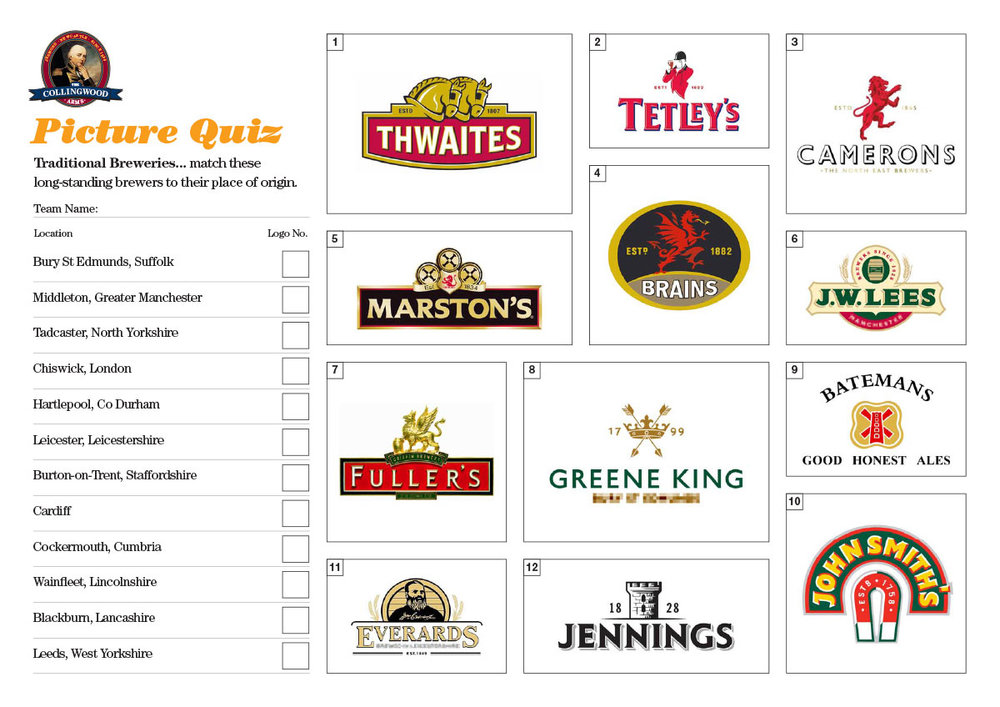 """The clue on the  Preview  for this weeks Picture Round was """"These traditional brands hale from all over the UK""""."""