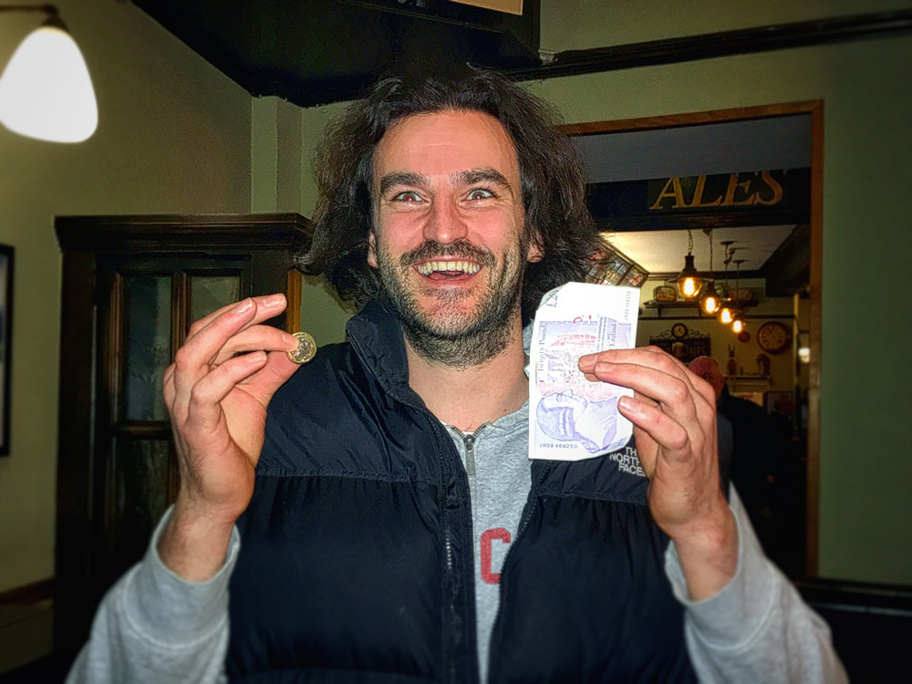 Sam may have drawn the Food Vouchers for the Winners Spontaneous Wrecks but he still left the Quiz with £27 in his back pocket after winning the Wild Card... and doesn't he look happy or is that slightly shell shocked?