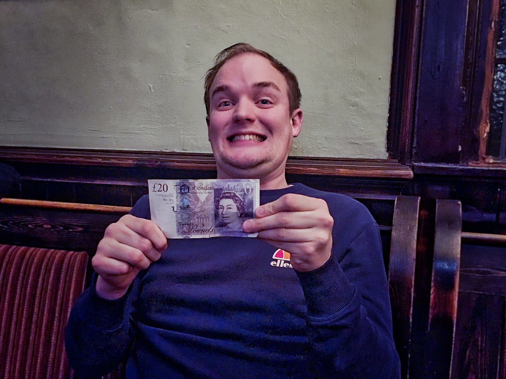 At his final Quiz, Alex from The Hasty Puddings won the £20 Wild Card and in a Quiz first donated it back into the rollover for next week. Generous or what!