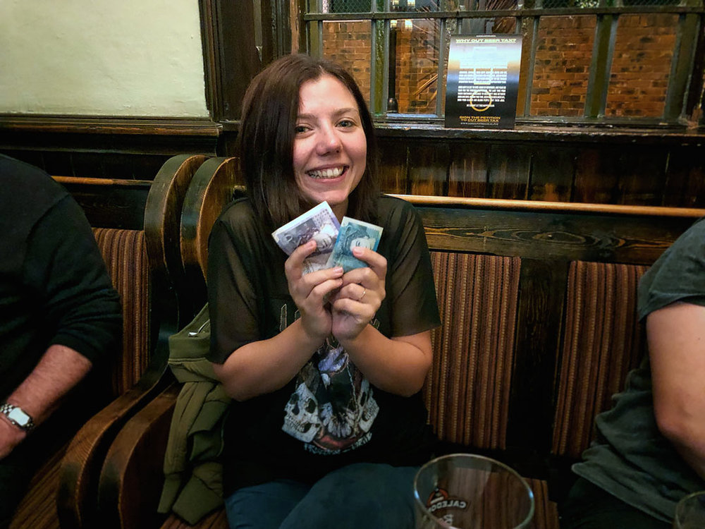 Would you believe it… our Wild Card Winner this week was our former top Barmaid Micky who attended the Quiz for the first time in three years (she had been in New Zealand mind)