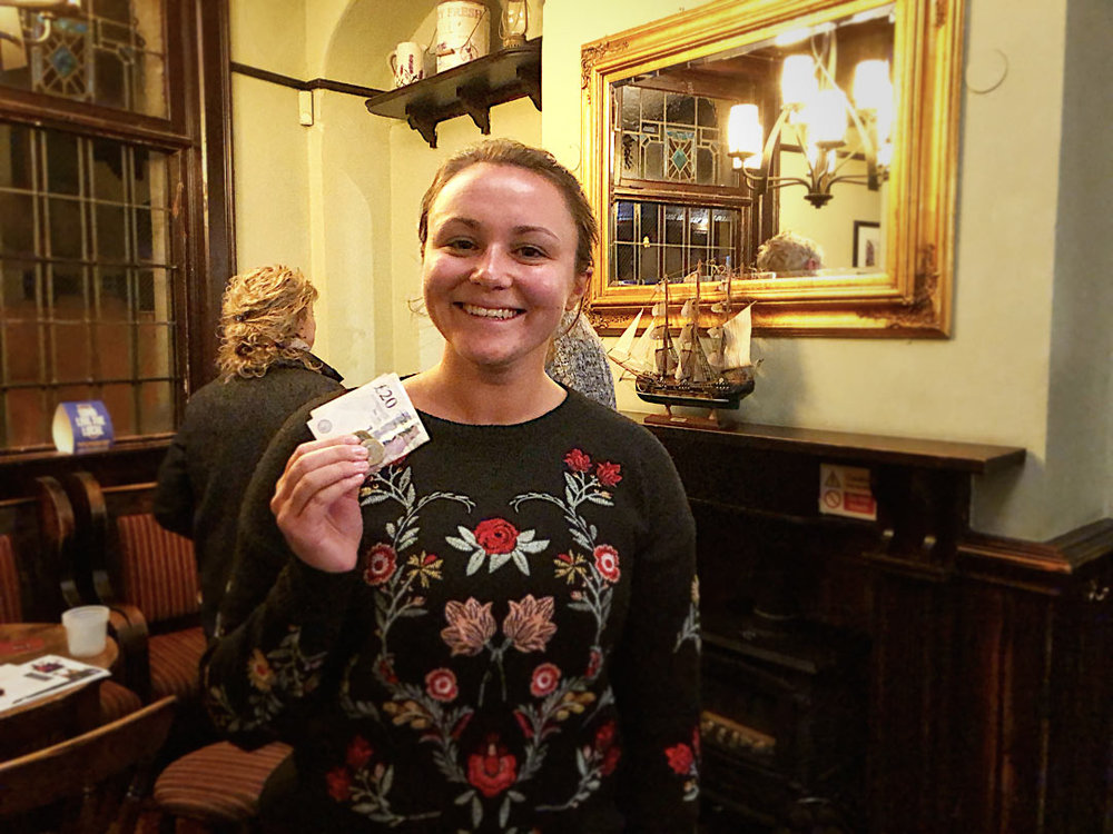 Not a bad night at The Colly Quiz for Georgina, first Quiz, £22 won on the Wild Card!
