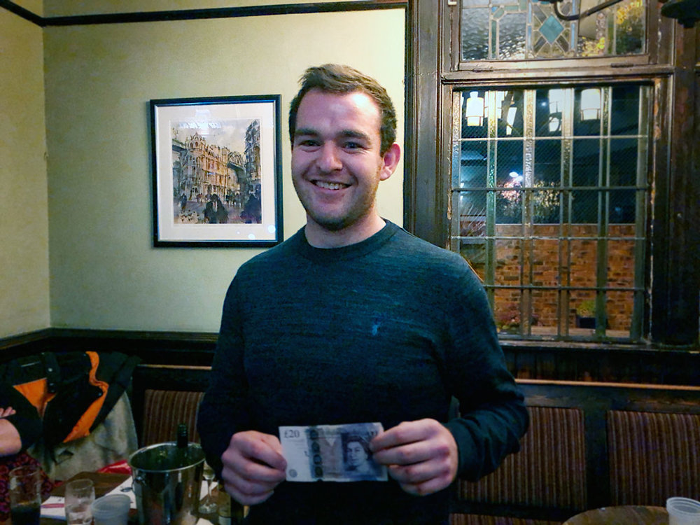 Alex from the winning team also got closest to the Wild Card answer. £20… not a bad return for a quid!