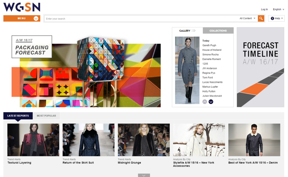 The home page shows some of the most trending colors, catwalks, prints, patterns and interesting articles.