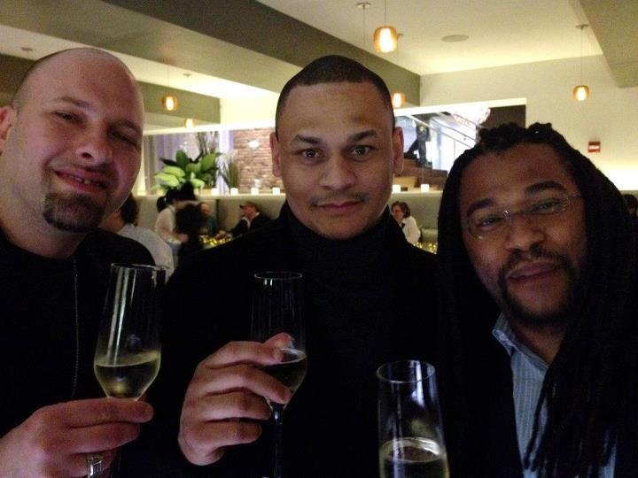 From left to right: Associate Creative Director Paul Osen, Associate Creative Director Derrick Rivers, and Creative Director Terrence Burrell at the 2012 Hugo Awards in Chicago.