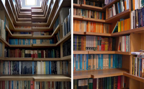 Books replace risers in these awesome stairs. architecturally and visually appealing.