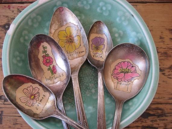 vintage silverware spoon flower markers etsy daisychestnut.jpg