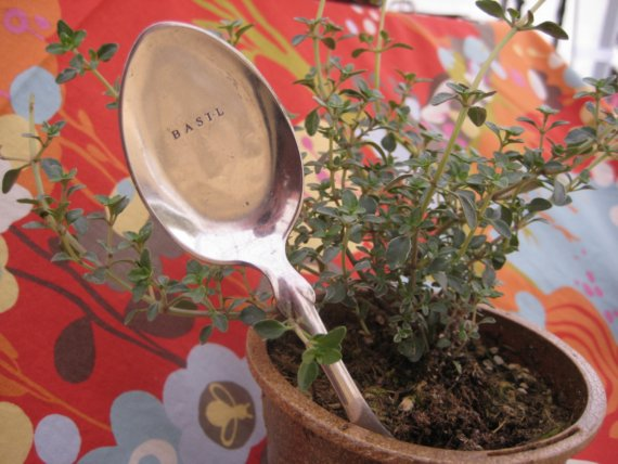 Redbench Designs Vintage Silver Spoon Garden Plant Markers