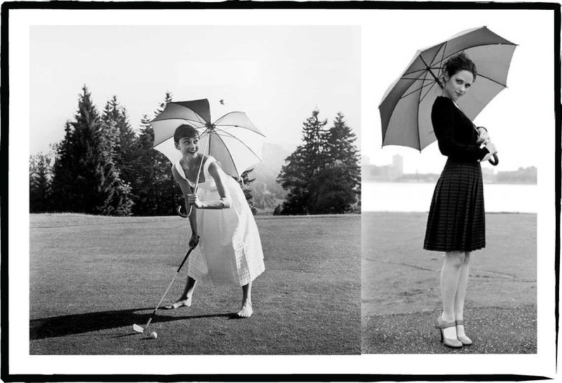 Find a photo of a beautiful actress holding an umbrella, and you're well on your way to inspiration. These of Audrey Hepburn and Zooey Deschanel not only make me feel beautiful, but they make me want my photograph taken with a delightful umbrella or parasol of my own.