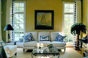 blue willow inspired living room from Blue Willow Interiors