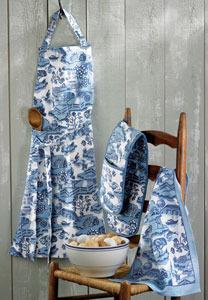 Blue Willow Patterned Apron $20.00, Table Kitchen Glove $15.00, Linen Tea  Towel $7.50.