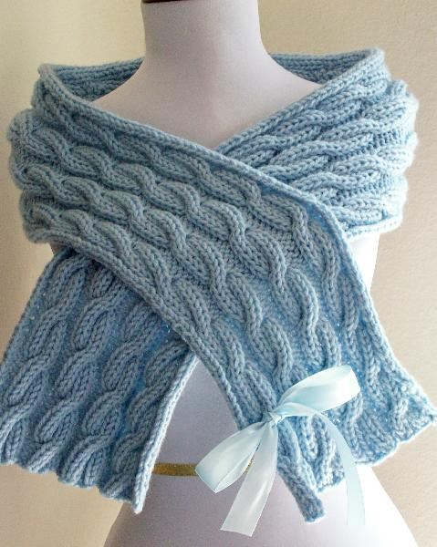 SKY BLUE  CRISS CROSS SKY BLUE CABLE SCARF FROM TLK Handknits. Online Etsy shop:  tinateee