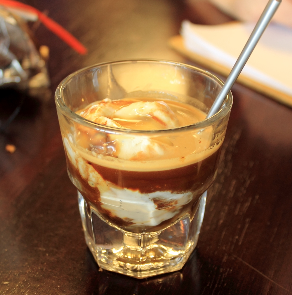 Affogato made with Tahitian vanilla ice cream, caramel sauce, with a double shot espresso on top served at Comet Coffee in St. Louis.  Photo by Michelle PG Richardson©