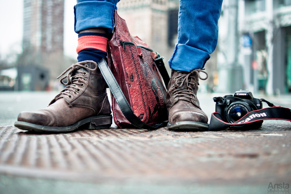Near South Ferry in Manhattan, a street photographer friend of Oye Diran shows you can't go wrong with a pair of perfectly worn brown leather vintage boots. Special thanks to Oye Diran of Arista Imagery on Tumblr for special use of this awesome photo.