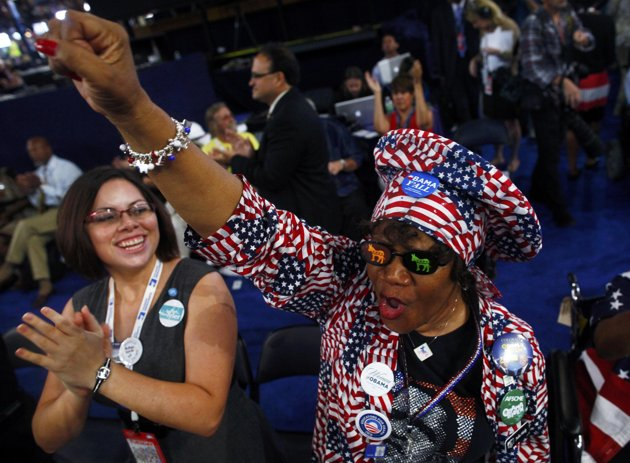 An enthusiastic  red white and blue democrat. Love the hat and check out the glasses