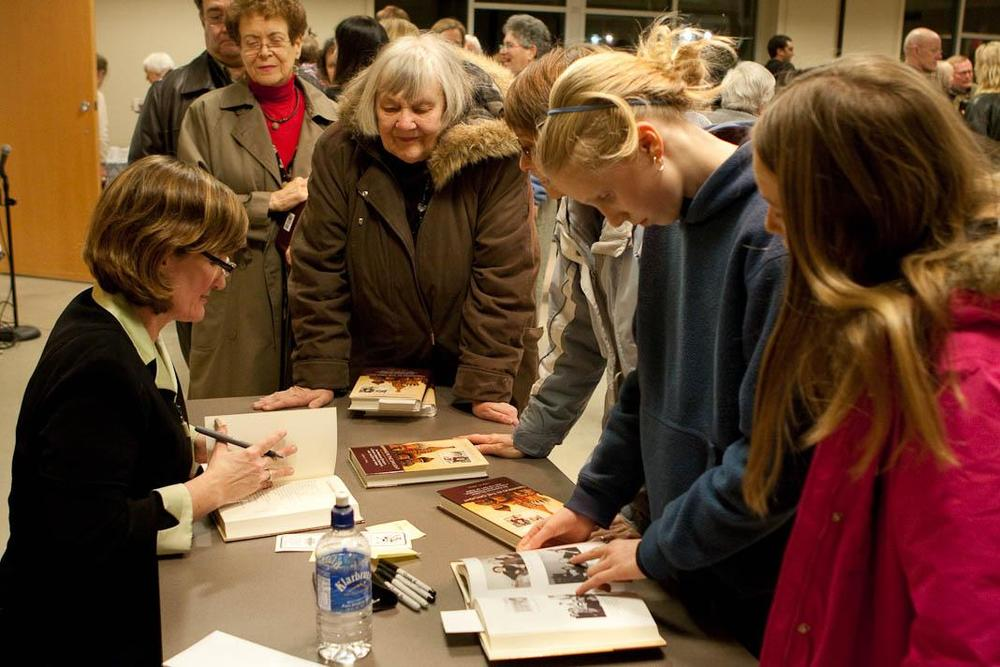 Author Lisa C. Paul at a Book Signing for her memoir Swimming int he Daylight.   Photo courtesy Lisa Paul