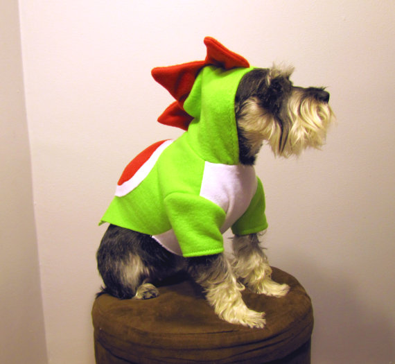 Dogasaurus rex Nintendo Super Mario Brothers dinasaur costume is not only hip and cute but also non binding and easy for a dog to move around in. Perfect for trick or treating on a leash