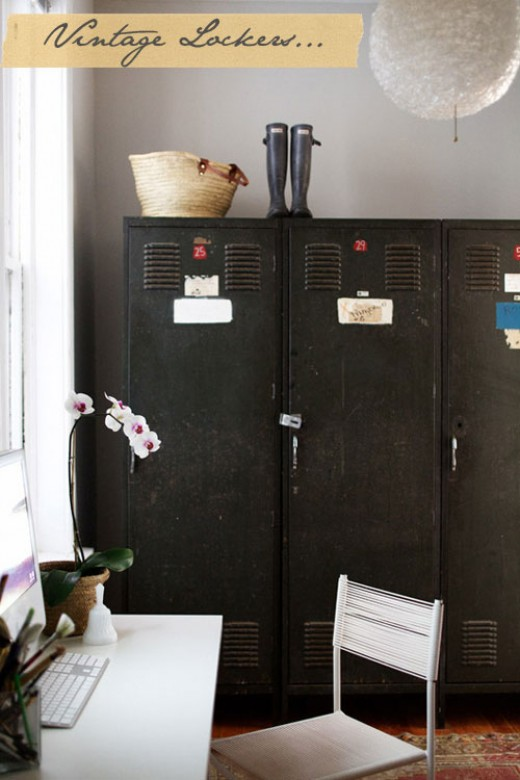 Vintage lockers ( Rue magazine ) for the mudroom, child's bedroom, home office, porch, or even the breakfast room.