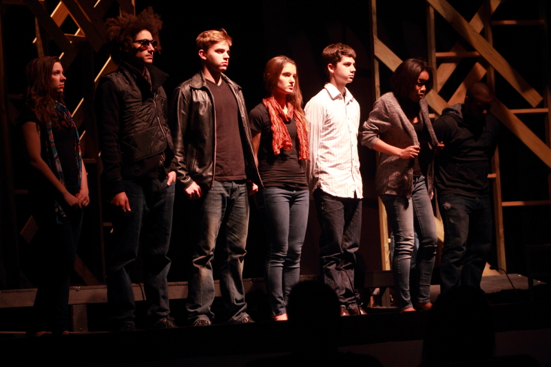 From left to right: Natalie Mitten, Presten Pinnell, Bryant Rohlfing, Emma Bright, Nelson Ricks, Morgan Patterson-Gill, Robert Burse.  ©Photo by Michelle PG Richardson