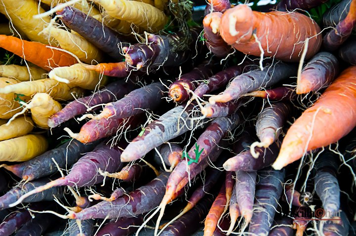 Purple, orange and white carrots - Priscilla Chan Photography  © 2012