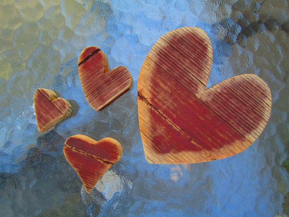 Lot of 4 Handcrafted Matching Weathered Wood Heart Shaped Cut Outs --  TINKER'S ATTIC .