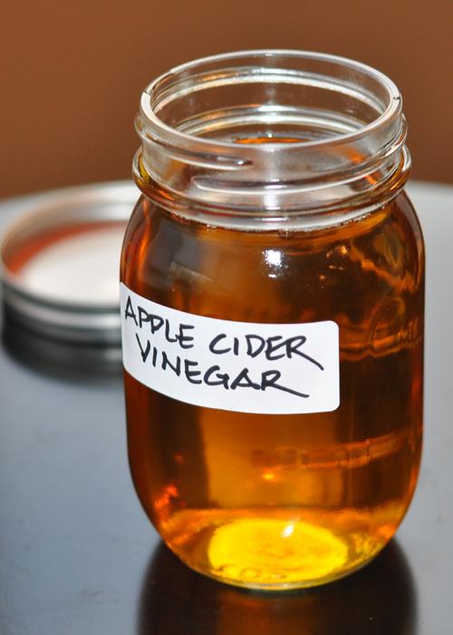 glass jar of homemade apple cider vinegar