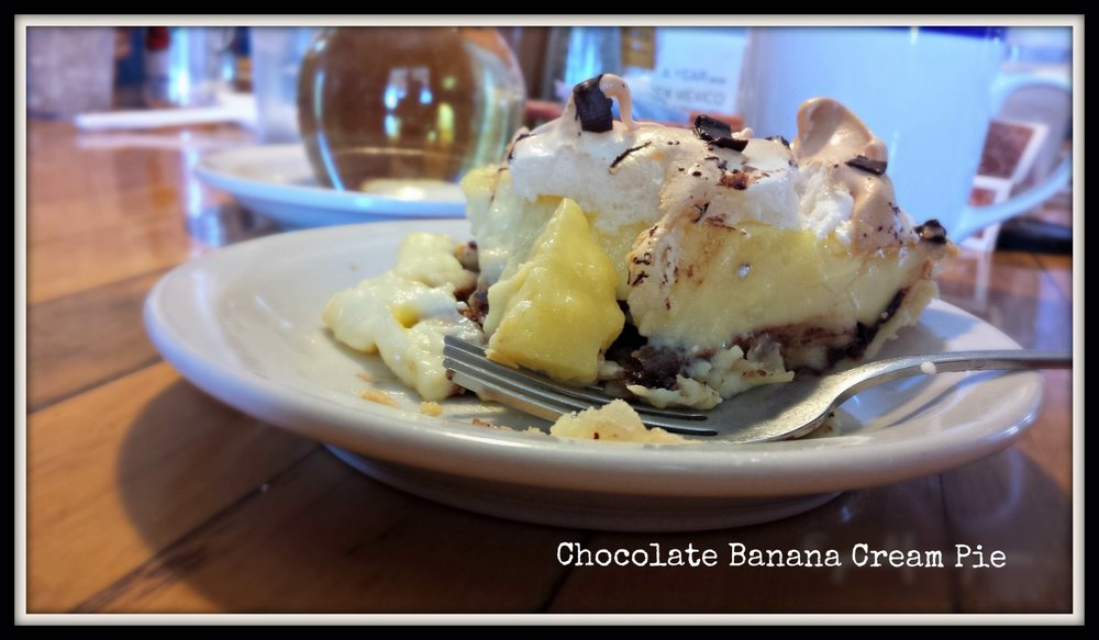 My Pie-o-neer Chocolate Banana Cream Pie - you have not tasted banana cream until you've tasted this! I am soooo not kidding. (Everyone was jealous because it was the very last slice of the day. Yay me!)