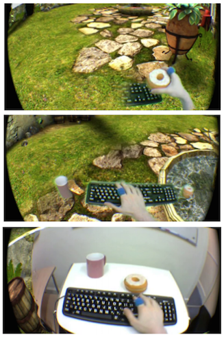 Top: Minimal blending (reality around user's hands). Middle: Partial blending (all interactive objects). Bottom: Full blending (all of reality). From  A Dose of Reality: Overcoming Usability Challenges in VR Head-Mounted Displays , McGill et al. 2015