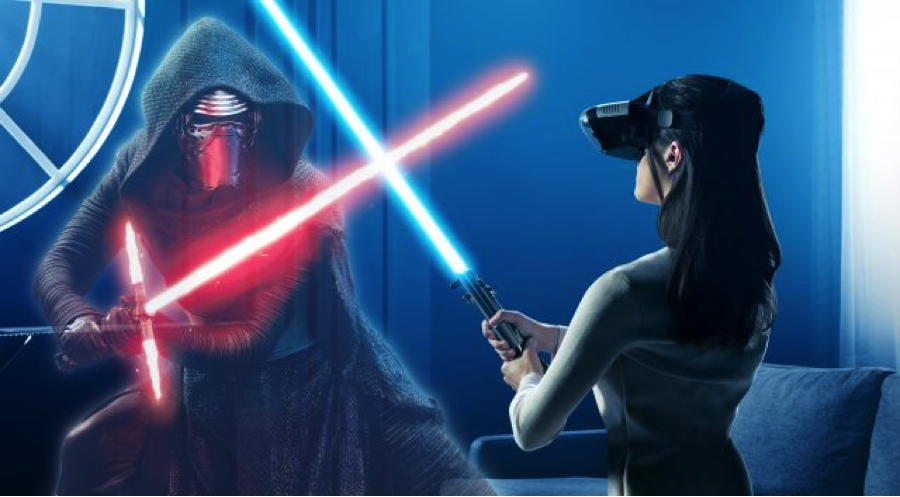 Disney / Lenovo's Star Wars Jedi Challenges AR device invites players to engage in lightsaber duels with life-size Sith lords (Disney)