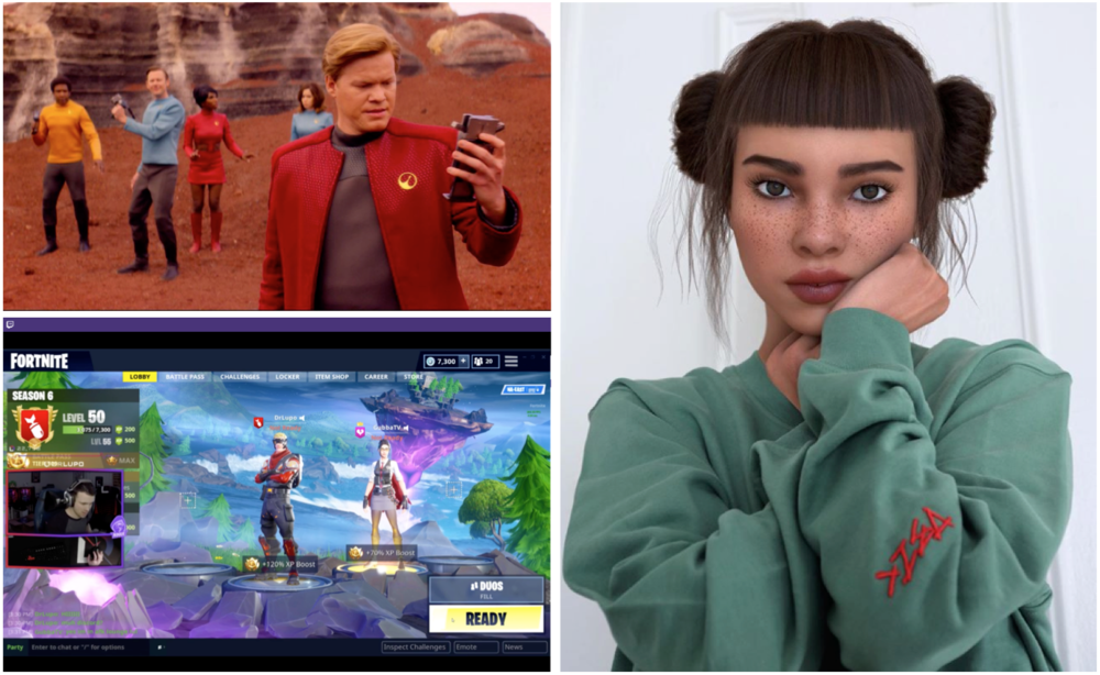 Clockwise, from top left: Netflix announces development of 'choose your own adventure' Black Mirror episode for 2019, @Lilmiquela is an AI Celebrity on Instagram, Spectator e-sports on the popular Twitch streaming platform, owned by Amazon.