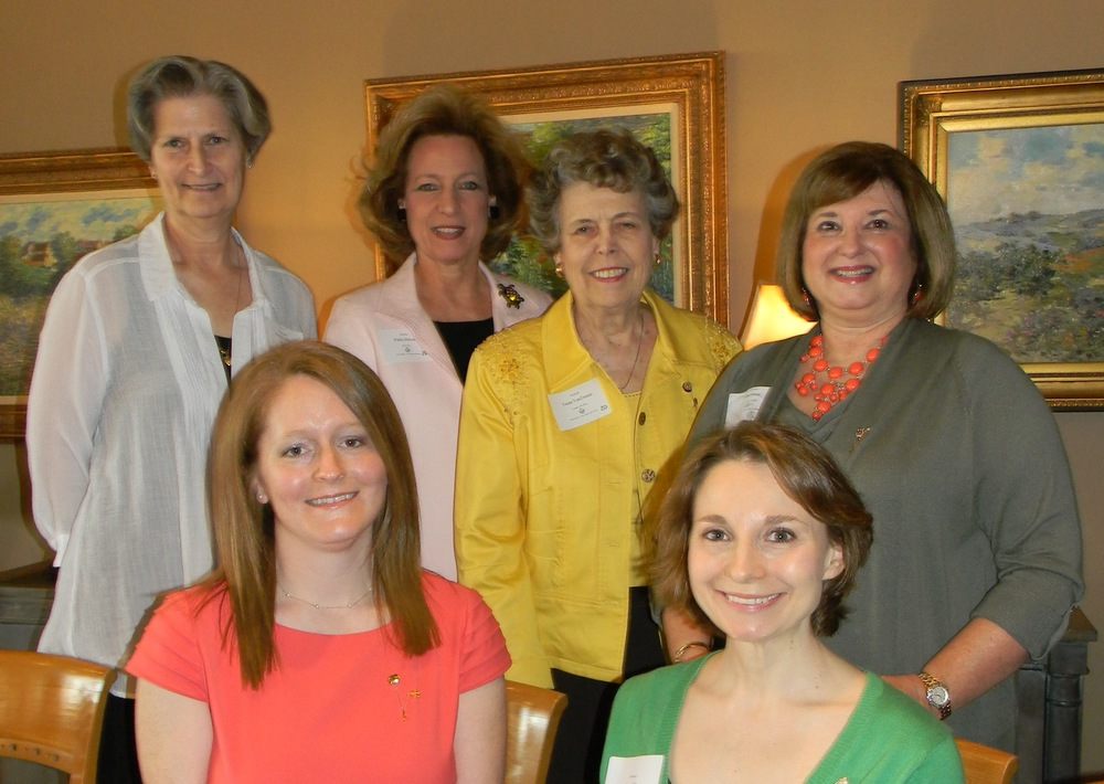 Seated:   Anne Powell Brockman - Phi Mu; Jennifer Gallo Moore - Alpha Gamma Delta;      Standing:            Collen Ayers-Griffin - Alpha Phi; Pattie Hulsey - Delta Zeta; Vesta Simanton VanTrease - Gamma Phi Beta; Pamela Roegels Dose - Alpha Chi Omega;      Not Pictured:            Mary Jo McEntire Gandee -Alpha Delta Pi; Betty Armstrong Kelsey - Sigma Sigma Sigma.