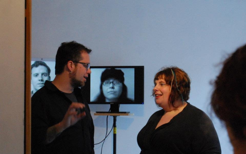 Travis and I kvelling over how much our students blew us away in this exhibition. Photo by Leigh Rogers