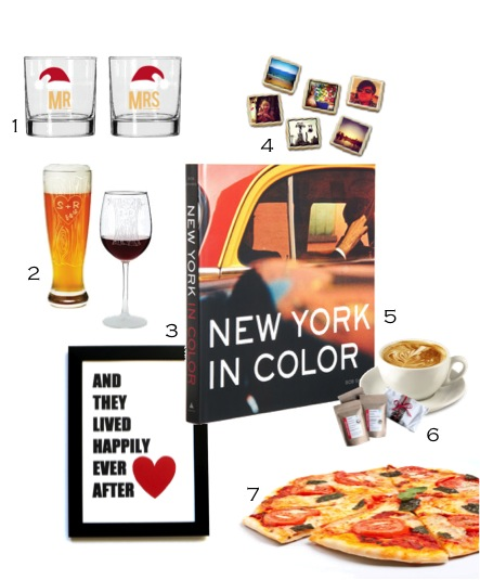 1. Mr & Mrs Holiday Cocktail Glasses 2. Personalized Tree Trunk Glassware 3. Hand Screen Art Print 4. Baking for Good 5. New York in Color, Bob Shamis 6. Craft Coffee 7. Coursehorse