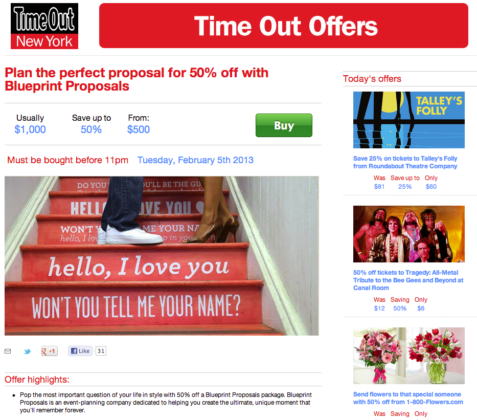 Time Out Offer - Feb 1, 2013