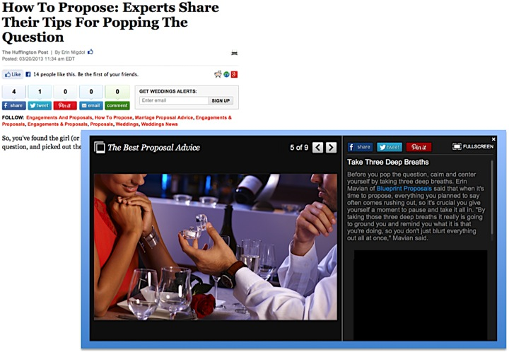 Huffington Post Weddings: Experts Share Their Tips For Popping The Question - March 20, 2013