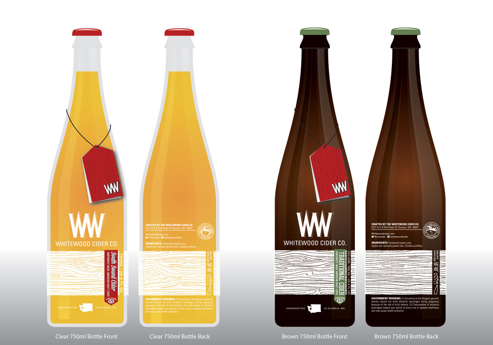 2012 Whitewood Cider Company bottle mockups. ©2012 Whitewood Cider Co.