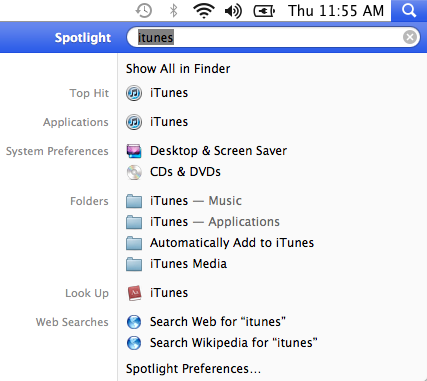 Spotlight in OS X