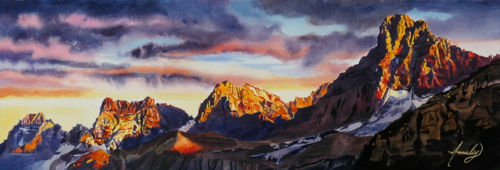 """The Backcountry"" Watercolour 21 x 7"" (Private Collection)"