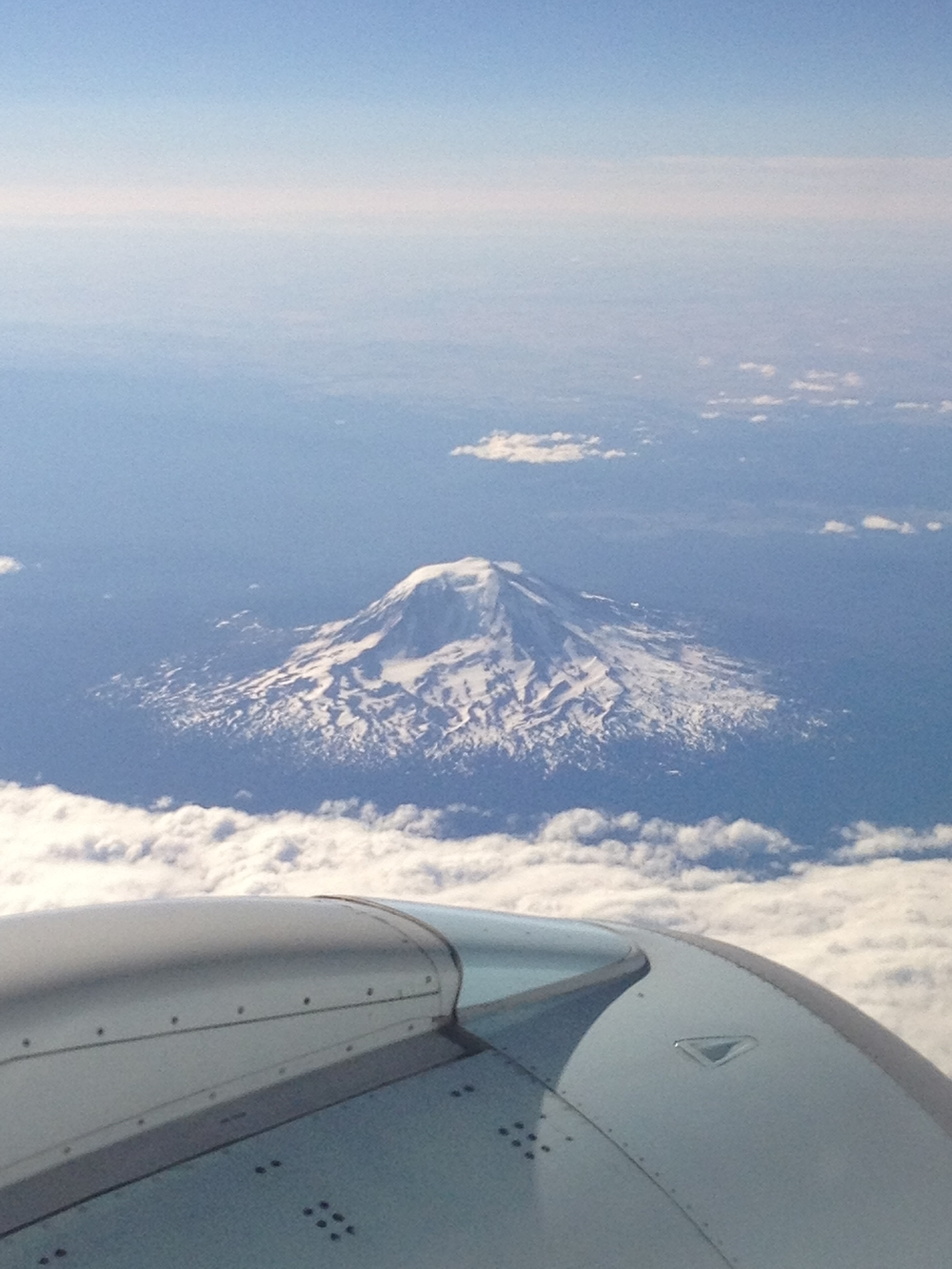 Mount Rainier from the airplane.