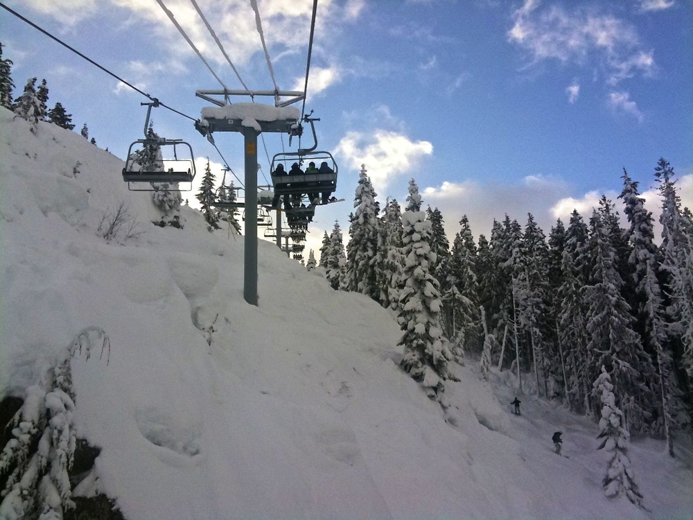 Bluebird day, heading up on the lift.