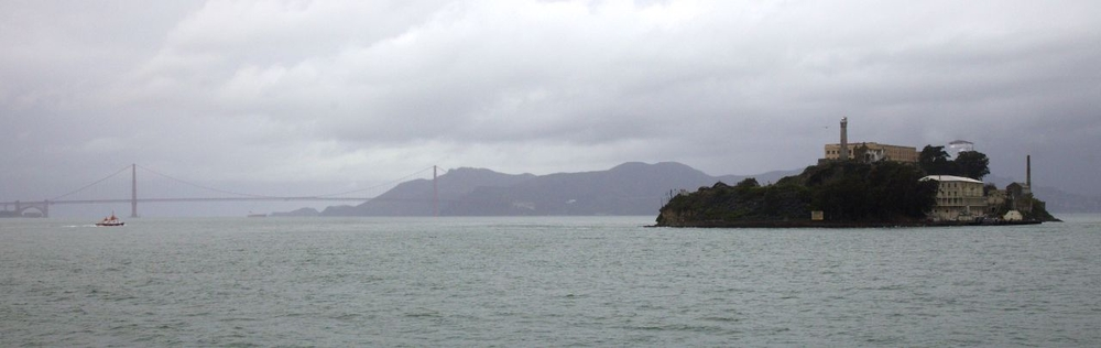 Alcatraz and the Golden Gate Bridge.