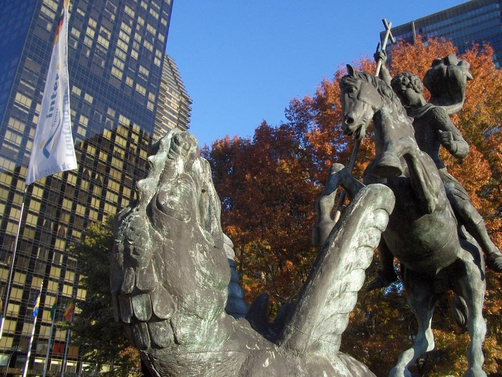 A very cool statue of St. George Slaying the Dragon on the United Nations grounds.