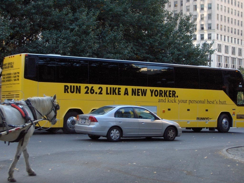 "Nike had the posters up all over town, with this ""Run Like..."" theme. This bus was the best - pure New York."