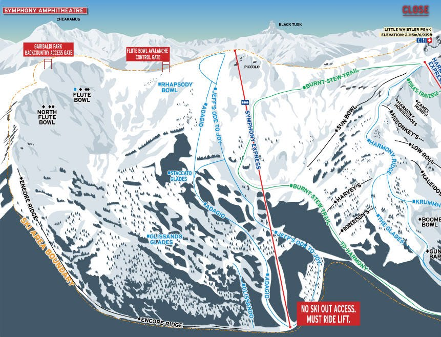"Trail map for the Symphony Amphitheater. A ""must ski"" for anyone going to Whistler."