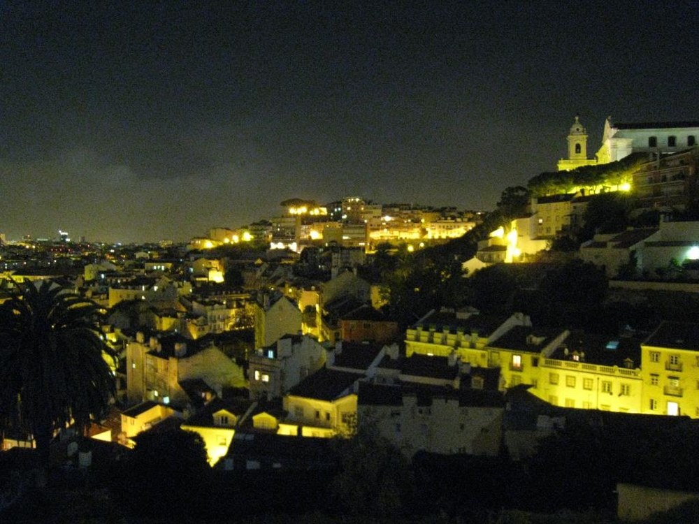 View over Lisbon at night