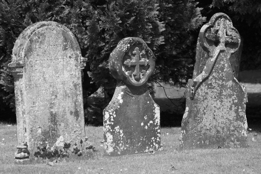 Gravestones in the churchyard